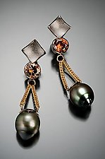 Tahitian Pearl Drop Earring by Ann Cahoon (Gold, Stone, & Pearl Earrings)