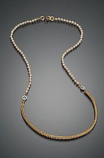 Petite Chain Link Necklace by Ann Cahoon (Gold & Pearl Necklace)