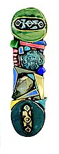Blue/Green Moonstone by Cathy Gerson (Ceramic Wall Sculpture)