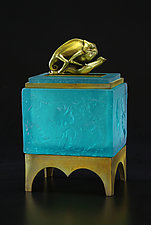 Chameleon Box Aqua by Georgia Pozycinski and Joseph Pozycinski (Art Glass & Bronze Sculpture)