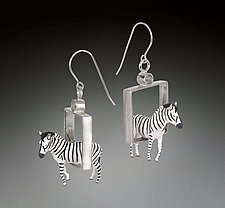 Zebras in Squares Earrings by Kristin Lora (Silver Earrings)