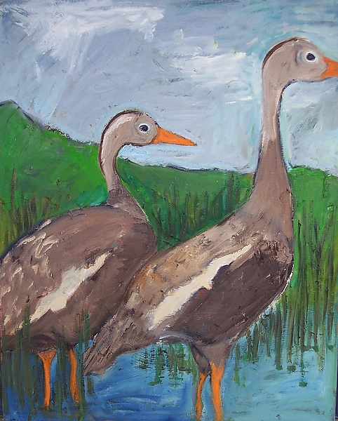 Two Geese in Tall Grass