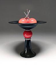 Pedestal Bowl with Cherries by Scott Summerfield (Art Glass Sculpture)
