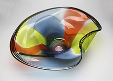 Jungle Wave Bowl by Janet Nicholson and Rick Nicholson (Art Glass Bowl)