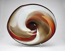 Cherry, Dark Topaz & Bone Platter by Janet Nicholson and Rick Nicholson (Art Glass Bowl)