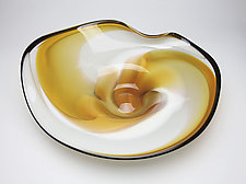 Gold Topaz, Bone & White Platter by Janet Nicholson and Rick Nicholson (Art Glass Bowl)