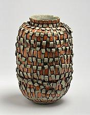 Vessel in Orange and Beige by Boyan Moskov (Ceramic Vessel)