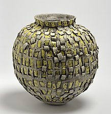 Vessel in Yellow and Beige by Boyan Moskov (Ceramic Vessel)
