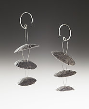 Kozo Floating Disks by Nancy Raasch (Silver & Paper Earrings)