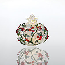Holly and Ivy by Lucky Ducks Glass (Art Glass Ornament)