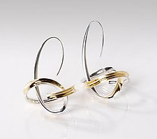 Drop Orbit Earrings by Nancy Linkin (Silver & Gold Earrings)