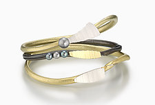 Pearl Twig Bangle Set by Christine Mackellar (Silver & Bimetal Bracelets)