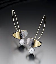 Butterfly Leaf Earrings by Christine MacKellar (Bimetal, Pearl & Stone Earrings)
