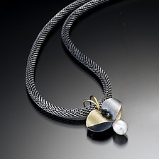 Butterfly Leaf Pendant by Christine MacKellar (Bimetal, Pearl & Stone Necklace)