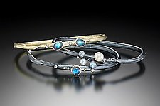 Autus Bangle Set by Christine Mackellar (Gold, Silver & Stone Bangle)