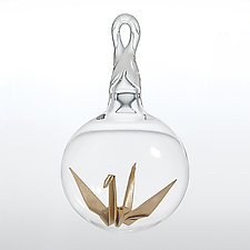 Gold Origami Crane by Adam Parsley (Art Glass Ornament)