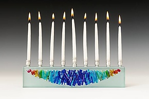 Woven Rainbow Menorah I by Alicia Kelemen (Art Glass Menorah)