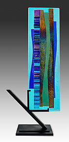 Waterfall Sculpture I in Blues by Alicia Kelemen (Art Glass Sculpture)