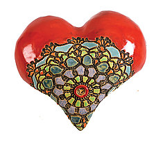 Rumors about Renee in Red by Laurie Pollpeter Eskenazi (Ceramic Wall Sculpture)