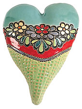 Flowers for Nicole by Laurie Pollpeter Eskenazi (Ceramic Wall Sculpture)