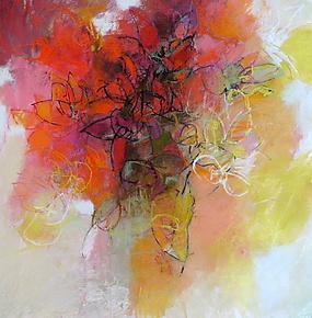 Red Flower by Debora  Stewart (Pastel Painting)