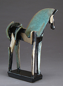 Upright Stoneware Slab-Built Horse by Jeri Hollister (Ceramic Sculpture)