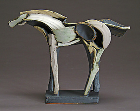 Long Light Slips Tribute Horse by Jeri Hollister (Ceramic Sculpture)