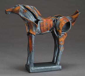 Iron Long Tribute Horse by Jeri Hollister (Ceramic Sculpture)