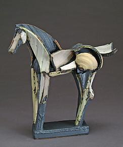 Upright Light Slips Tribute Horse by Jeri Hollister (Ceramic Sculpture)