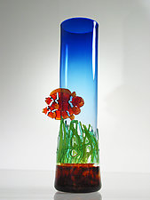 Clown Fish Vase with Sea Grass by David Leppla (Art Glass Vase)