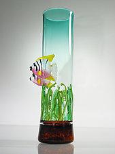 Angel Fish  Vase with Sea Grass by David Leppla (Art Glass Sculpture)