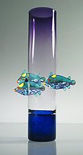 Purple Vase with Triggerfish by David Leppla (Art Glass Vase)