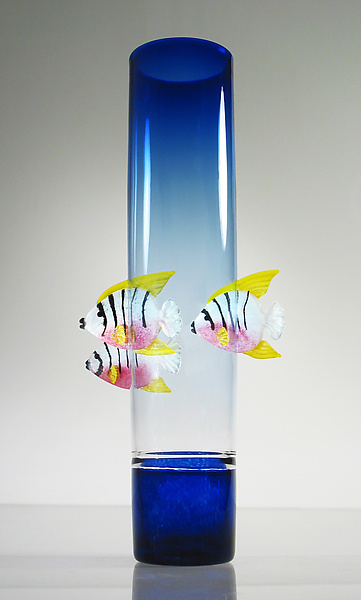 Blue Vase with Angelfish