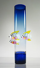 Blue Vase with Angelfish by David Leppla (Art Glass Vase)