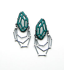 Jointed Gem Earrings by Joanna Nealey (Enameled Earrings)