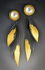 Golden Wings Earrings by Judith Neugebauer (Gold, Silver & Pearl Earrings)