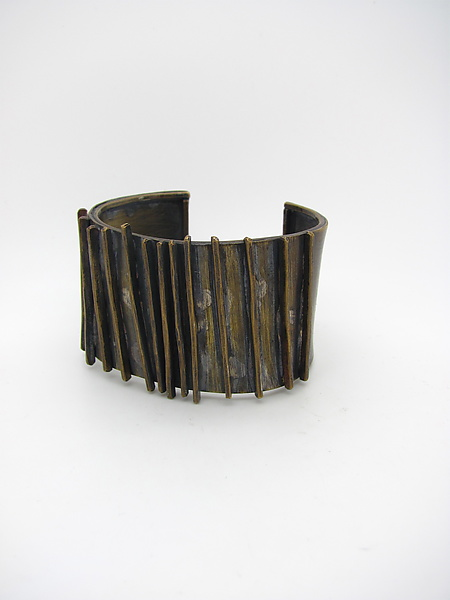 Hammered Lines Brass Cuff