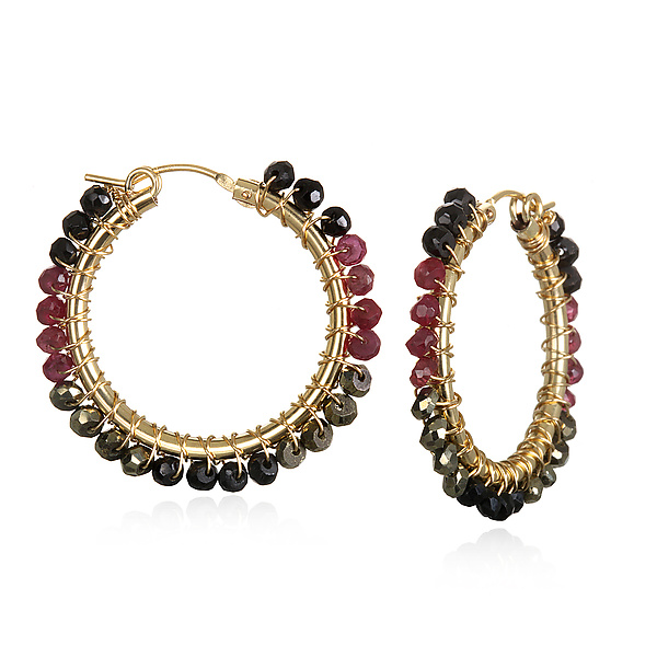 Medium Ruby and Spinel Hoops