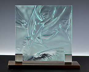 Four Faces by Susan Bloch (Art Glass Sculpture)