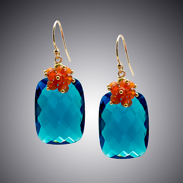 London Blue Quartz and Carnelian Earrings