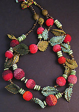 Leaves and Berries Necklace by Julie Powell (Beaded Necklace)