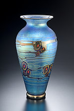 Blue Currents Murrini Vase by David Lindsay (Art Glass Vase)