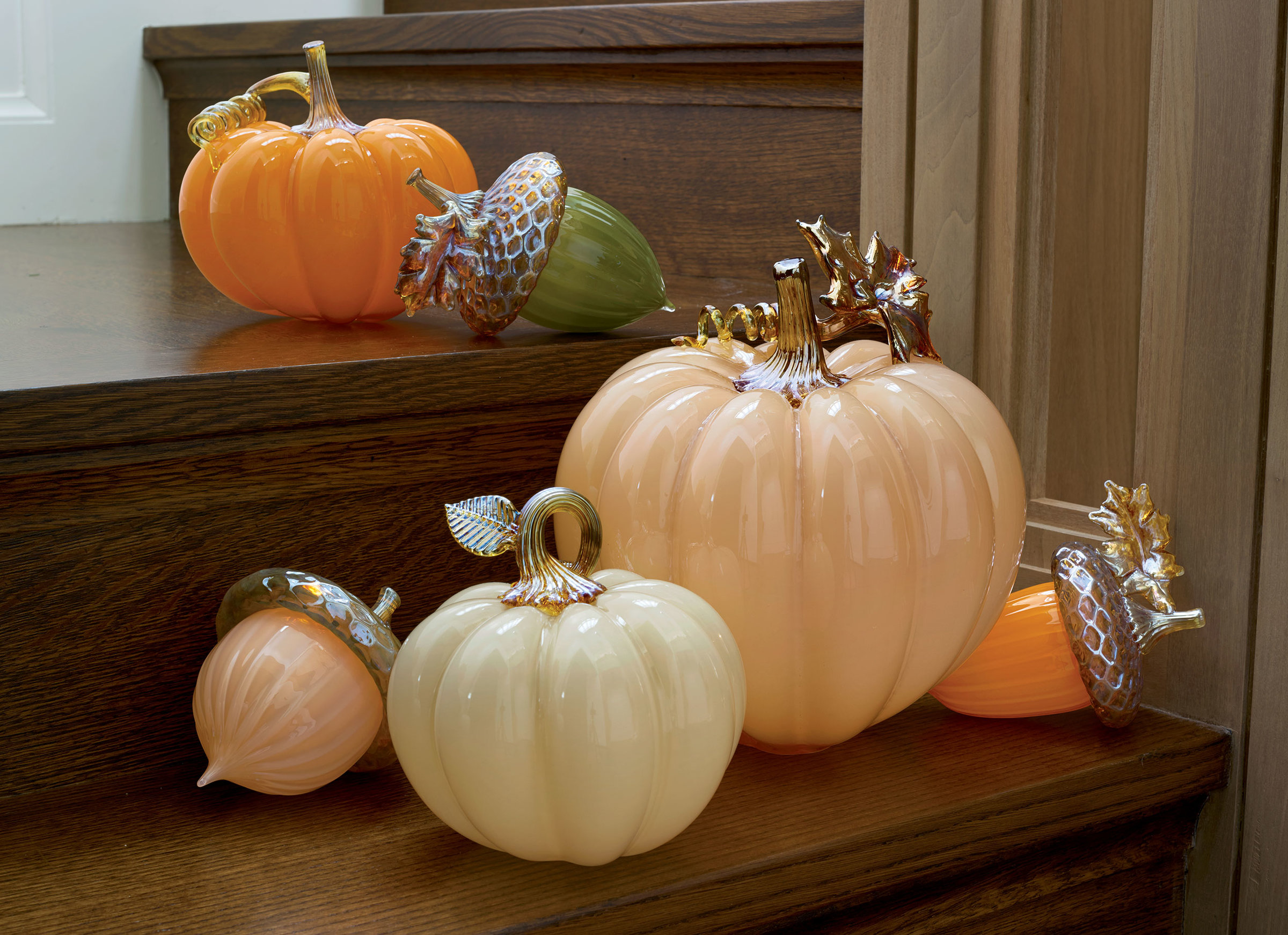 Autumnal Pumpkins By Treg Silkwood Art Glass Sculpture