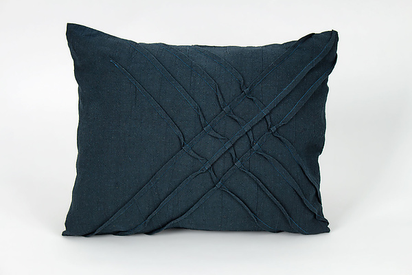X pleat Accent Pillow in Midnight Blue