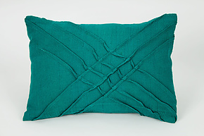 X Pleat Accent Pillow in Teal by Carol Gilbert (Linen Pillow)