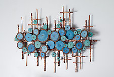 Ripples in Blues by Hannie Goldgewicht (Mixed-Media Wall Sculpture)