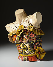 1950s Ruffled Dress Torso by Gail Markiewicz (Ceramic Sculpture)