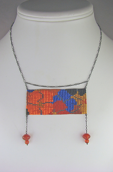 California Dream Panel Necklace with Carnelian Pendants