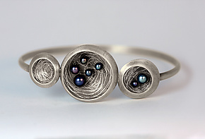 Triple Nest Bracelet by Linda Azar (Silver & Pearl Bracelet)