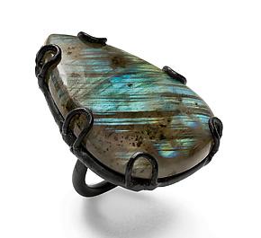 Labradorite Ring by Megan Auman (Steel & Stone Ring)